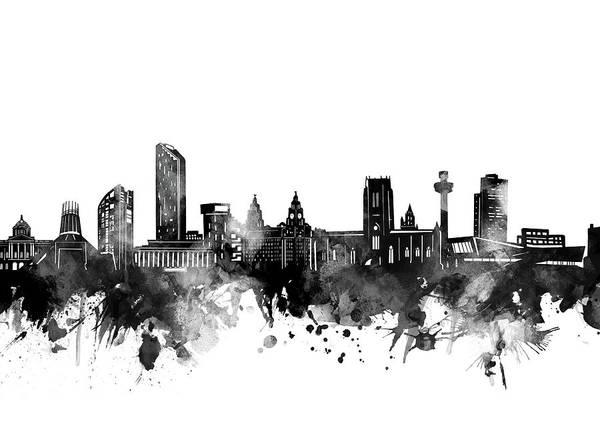 Liverpool Skyline Digital Art - Liverpool Skyline Bw by Bekim Art