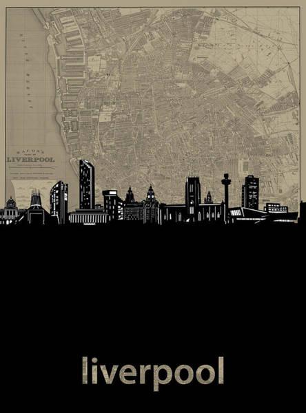 Liverpool Skyline Digital Art - Liverpool Skyline Map by Bekim Art