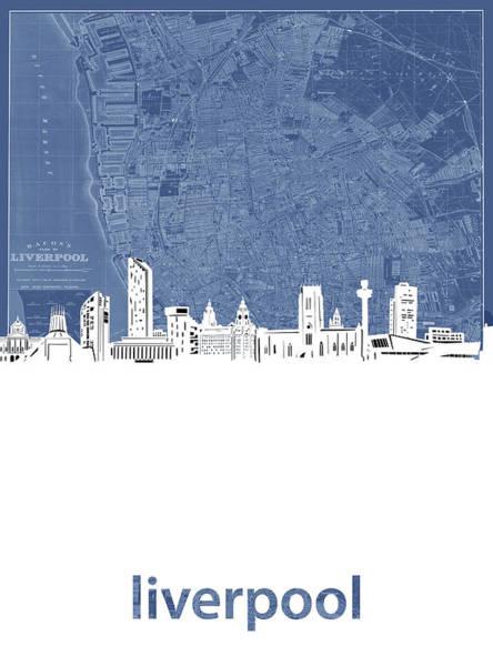 Liverpool Skyline Digital Art - Liverpool Skyline Map Blue by Bekim Art