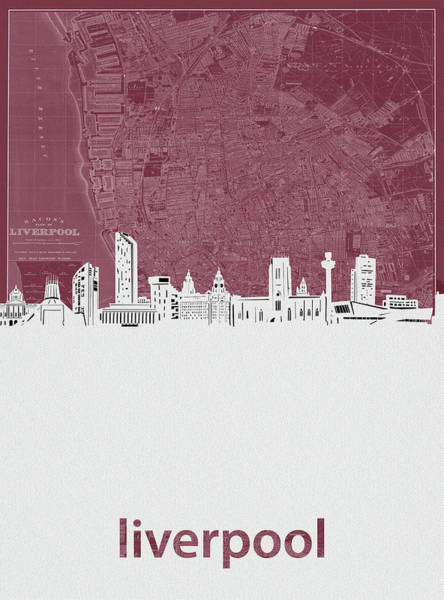 Liverpool Skyline Digital Art - Liverpool Skyline Map Red by Bekim Art
