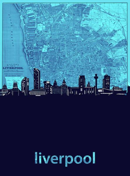 Liverpool Skyline Digital Art - Liverpool Skyline Map Turquoise by Bekim Art