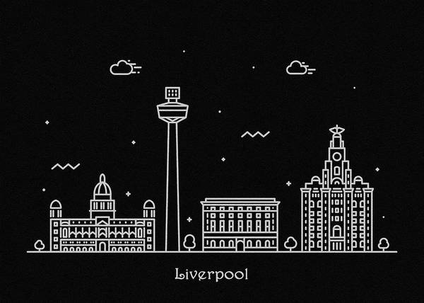 Wall Art - Digital Art - Liverpool Skyline Travel Poster by Inspirowl Design