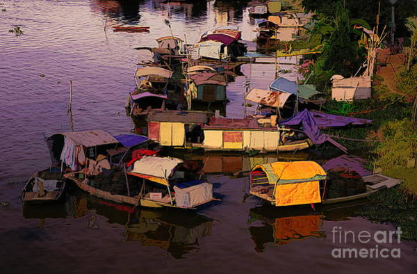 Wall Art - Photograph - Living On Red River Hanoi  by Chuck Kuhn