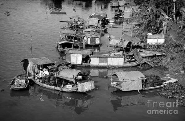 Wall Art - Photograph - Living On Red River Poverty Asia Black White  by Chuck Kuhn