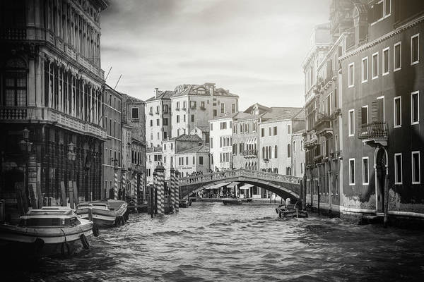 Wall Art - Photograph - Living On Water  Scenes Of Venice Italy Black And White by Carol Japp