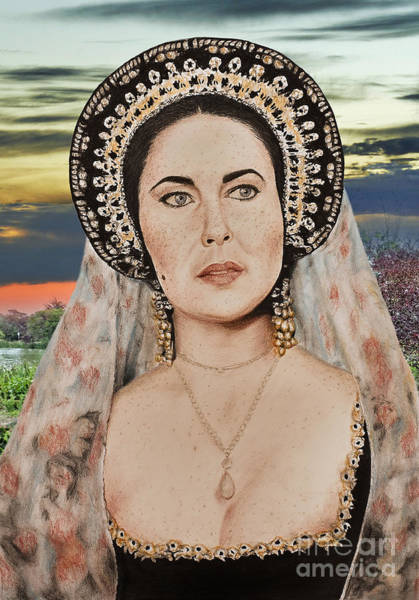 Leading Actress Wall Art - Digital Art - Liz Taylor Renaissance Portrait At Sunset by Jim Fitzpatrick
