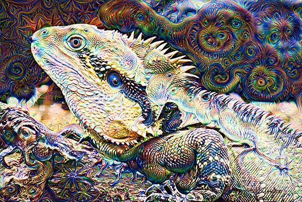 Wall Art - Mixed Media - Lizard Illusions by Trudee Hunter