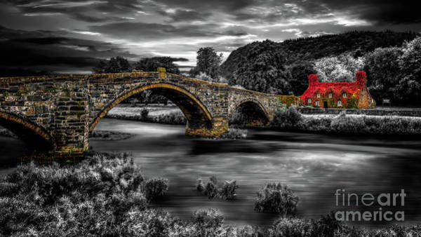 Wall Art - Photograph - Llanrwst Ivy Cottage And Bridge by Adrian Evans