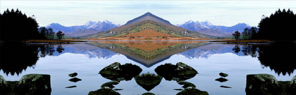 Mounted Digital Art - Llyn Mymbyr With View Of Snowdonia by Raj Kamal