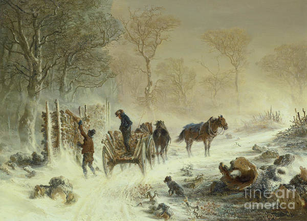 Wall Art - Painting - Loading Wood In The Snow, 1858  by Hermann Kauffmann