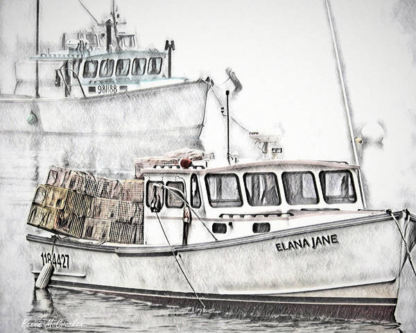 Digital Art - Lobster Boat - Mount Desert Island by Pennie McCracken