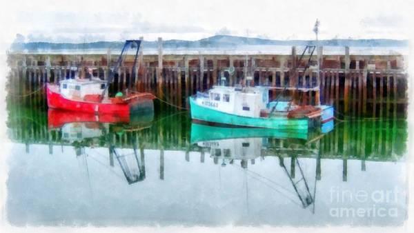 Wall Art - Digital Art - Lobster Boats Prince Edward Island Watercolor by Edward Fielding