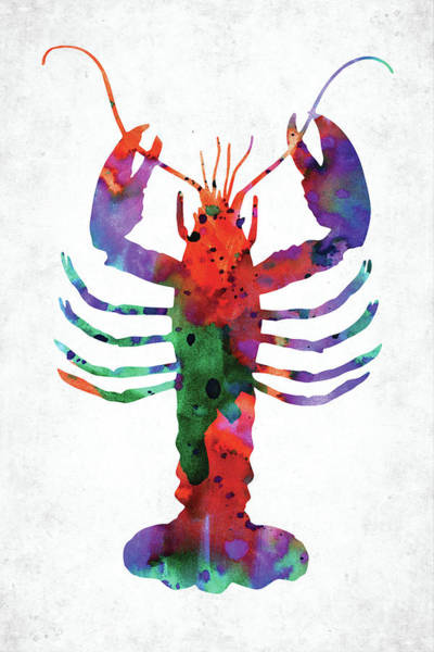 Wall Art - Digital Art - Lobster Colorful Watercolor by Mihaela Pater