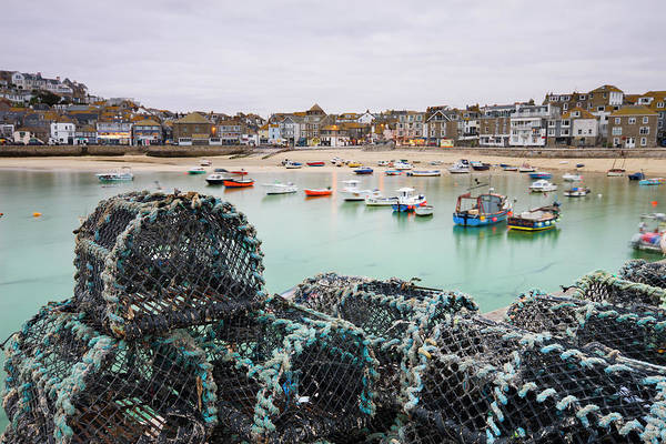 Ives Photograph - Lobster Pots On The Harbour Wall At St by Adam Burton