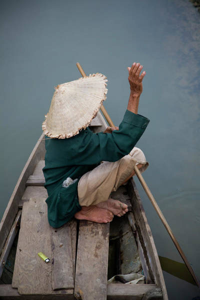 Hand Photograph - Local Man In Traditional Vietnamese Hat by Tony Burns