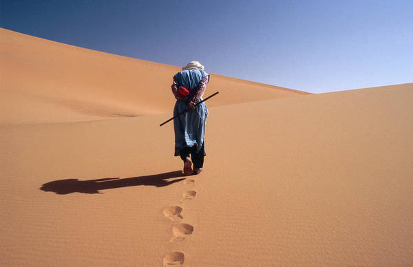 Mature Photograph - Local Man Walking In The Sahara by Olivier Cirendini