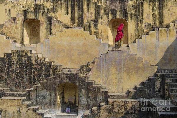 Local Women Crossing The Stepwells Of Art Print