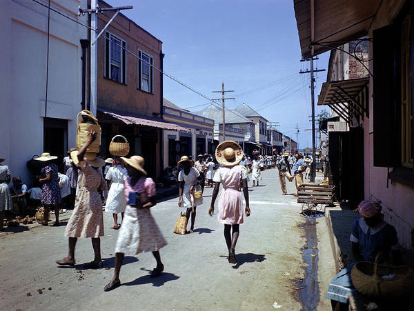Montego Bay Photograph - Locals Strolling Market Street by Eliot Elisofon