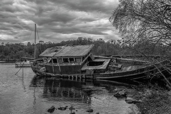 Wall Art - Photograph - Loch Ness Shipwreck - Scotland In Black And White by Bill Cannon