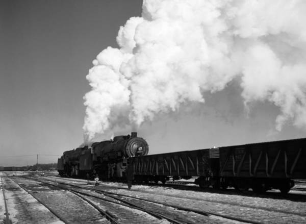 Wall Art - Photograph - Locomotive In Rail Yard - Chicago - 1942 by War Is Hell Store