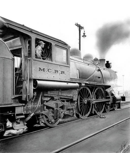 Wall Art - Drawing - Locomotive by Lyle Brown