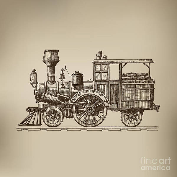 Trip Digital Art - Locomotive. Vector Format by Ava Bitter