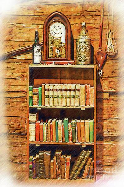 Digital Art - Log Cabin Book Case Sketched by Kirt Tisdale