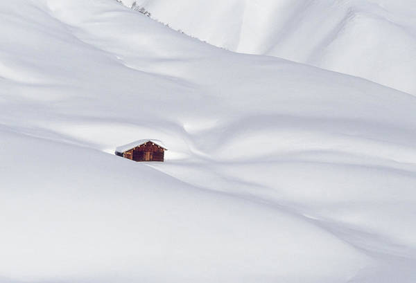 Climbing Photograph - Log Cabin In Snowy Alps by Gerhard Fitzthum
