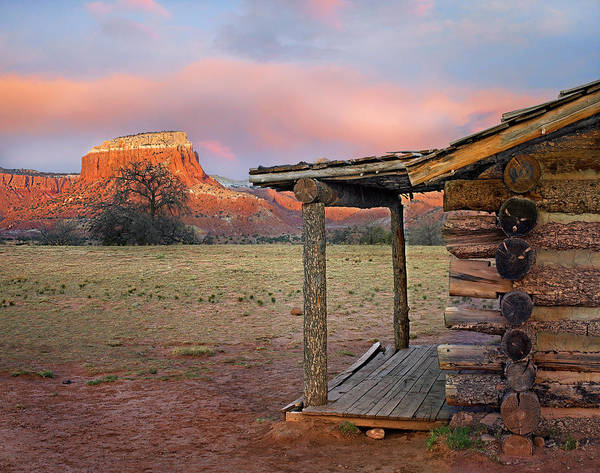 Wall Art - Photograph - Log Cabin, Kitchen Mesa, Ghost Ranch by