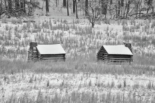 Photograph - Log Cabins At Valley Forge - Black And White by Bill Cannon