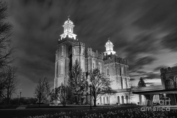 Photograph - Logan Temple Glowing Under The Clouds Black And White by Adam Jewell