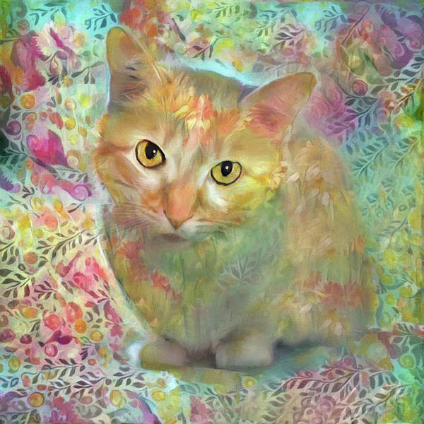 Digital Art - Lola The Ginger And White Tabby Cat by Peggy Collins