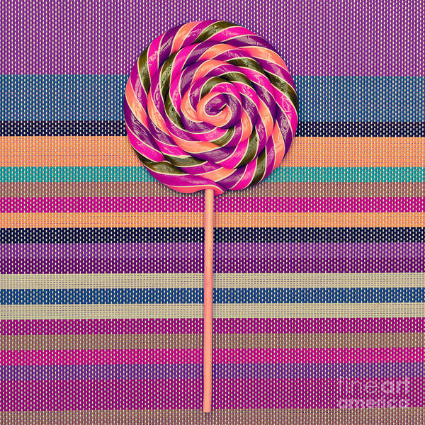 Wall Art - Photograph - Lollipop On Bright Striped Background by Evgeniya Porechenskaya
