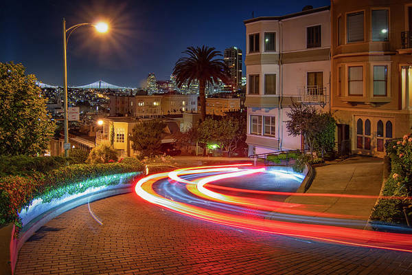 Photograph - Lombard Street And The Bay Bridge by Kristen Wilkinson