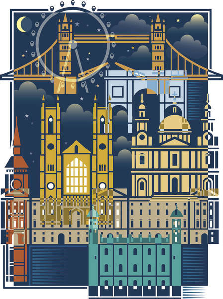 Famous Places Digital Art - London At Night by Johnwoodcock