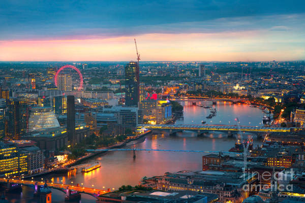 Westminster Bridge Photograph - London At Sunset, Panoramic View by Ir Stone