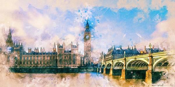 Westminster Painting - London, Big Ben by ArtMarketJapan