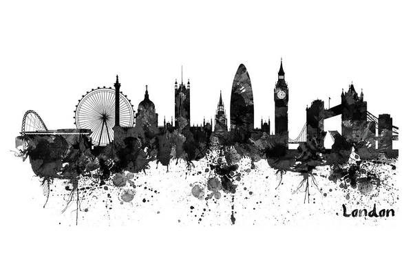 Wall Art - Painting - London Black And White Watercolor Skyline Silhouette by Marian Voicu