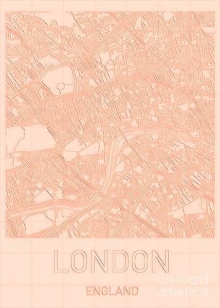 Digital Art - London Blueprint City Map by Helge