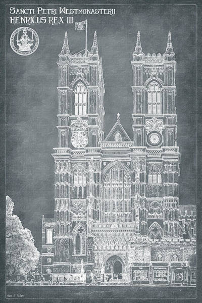Digital Art - London Blueprints - Gothic Architecture Of Westminster Abbey by Mark Tisdale
