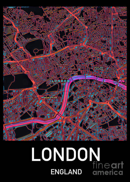 Digital Art - London City Map by Helge