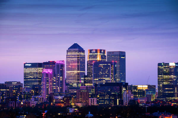 Canary Wharf Photograph - London City Skyline At Night by Cultura Rm Exclusive/dan Dunkley