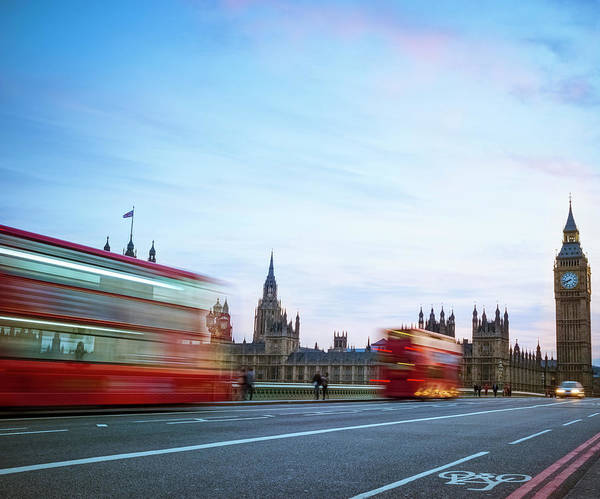The Clock Tower Photograph - London Double Decker Bus Against Big Ben by Cirano83