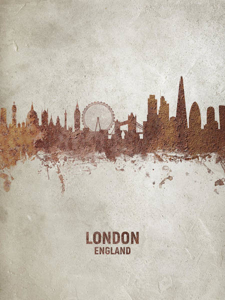 Wall Art - Digital Art - London England Rust Skyline by Michael Tompsett