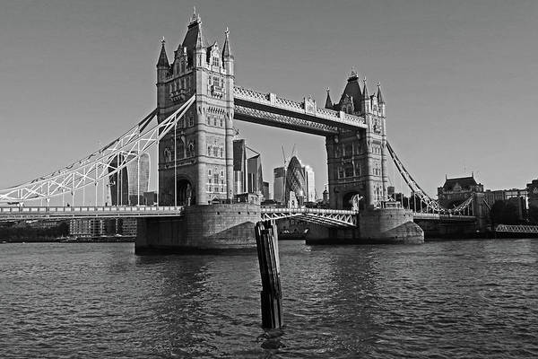 Photograph - London England Tower Bridge And Skyline Blue Sky Black And White by Toby McGuire