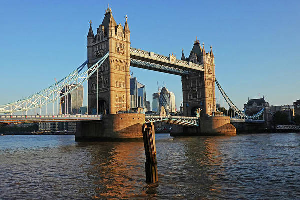 Photograph - London England Tower Bridge And Skyline Blue Sky by Toby McGuire