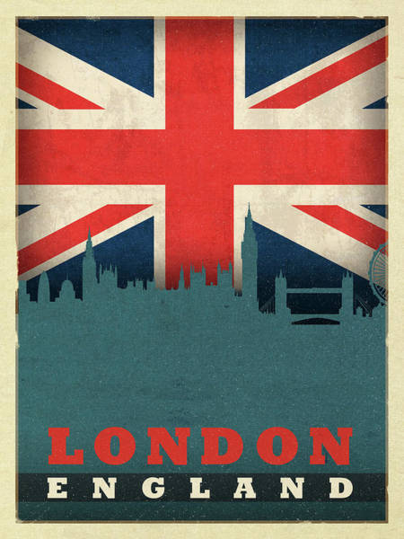 Wall Art - Mixed Media - London England World City Flag Skyline by Design Turnpike