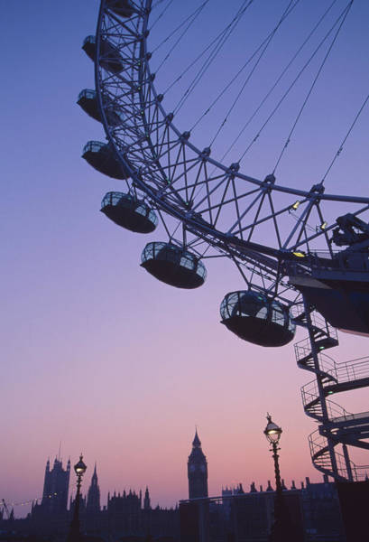 Houses Of Parliament Wall Art - Photograph - London Eye At Sunset by Grant Faint