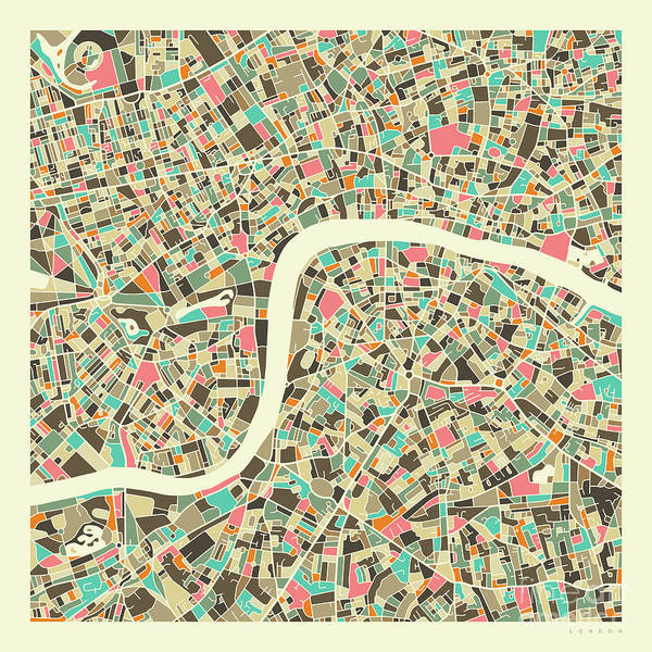 Wall Art - Digital Art - London Map 1.1 by Jazzberry Blue