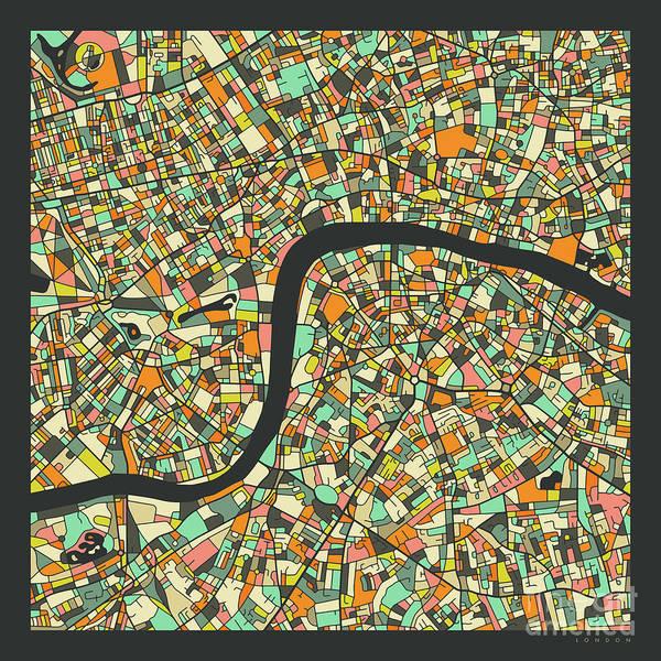Wall Art - Digital Art - London Map 2.1 by Jazzberry Blue